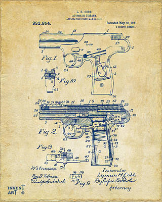1911 Automatic Firearm Patent Artwork - Vintage Art Print by Nikki Marie Smith