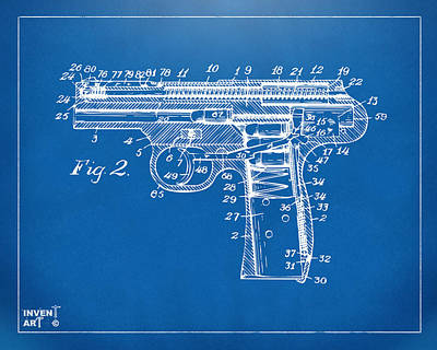 1911 Automatic Firearm Patent Minimal - Blueprint Art Print