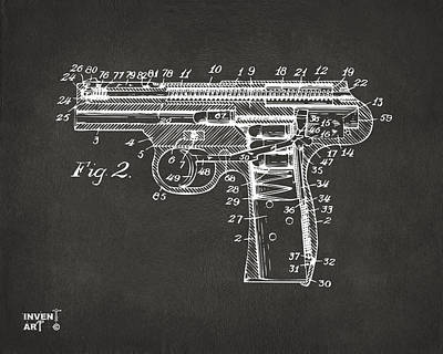 1911 Automatic Firearm Patent Minimal - Gray Art Print
