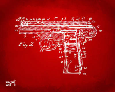 X Ray Digital Art - 1911 Automatic Firearm Patent Minimal - Red by Nikki Marie Smith