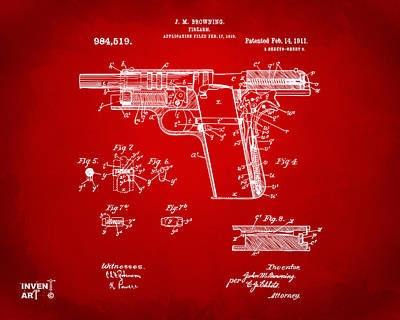 1911 Colt 45 Browning Firearm Patent 2 Artwork Red Art Print