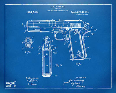 1911 Colt 45 Browning Firearm Patent Artwork Blueprint Art Print by Nikki Marie Smith