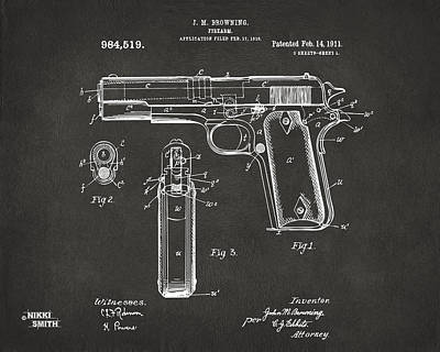 1911 Browning Firearm Patent Artwork - Gray Art Print by Nikki Marie Smith