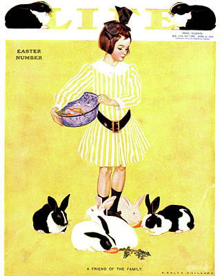 Easter Bunny Painting - 1911 Cover Life Magazine Easter Issue by Vintage Images
