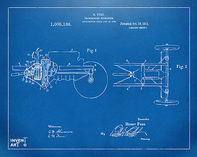 Bold Digital Art - 1911 Henry Ford Transmission Patent Blueprint by Nikki Marie Smith