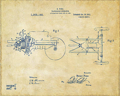 Digital Art - 1911 Henry Ford Transmission Patent Vintage by Nikki Marie Smith