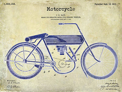 Harley Davidson Photograph - 1911 Motorcycle Patent Drawing 2 Tone  by Jon Neidert