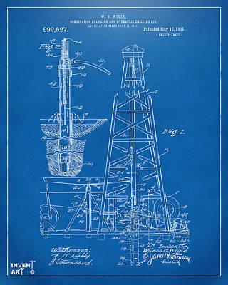 1911 Oil Drilling Rig Patent Artwork - Blueprint Art Print by Nikki Marie Smith