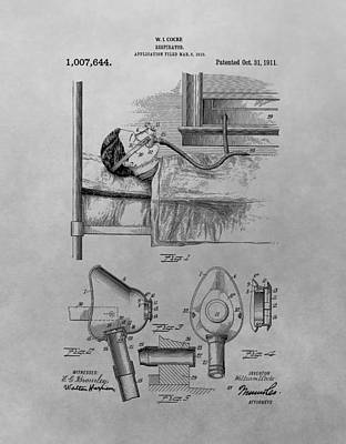 Drawing - 1911 Respirator Patent Drawing by Dan Sproul