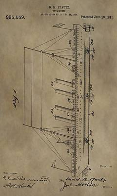 Mixed Media - 1911 Steamship Patent by Dan Sproul