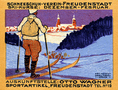 Ski Painting - 1911 Swiss Ski School Poster by Historic Image