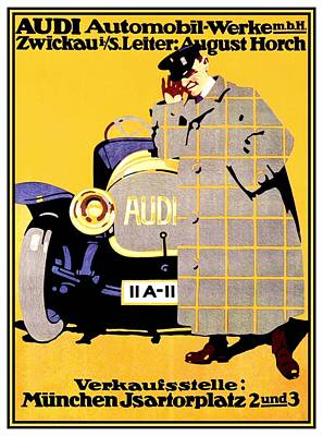 Digital Art - 1912 - Audi Automobile Advertisement Poster - Ludwig Hohlwein - Color by John Madison