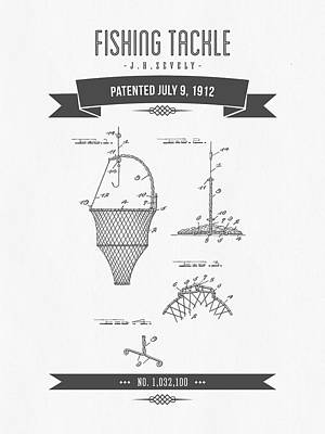 1912 Fishing Tackle Patent Drawing Art Print by Aged Pixel