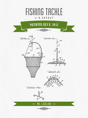 1912 Fishing Tackle Patent Drawing - Green Art Print by Aged Pixel