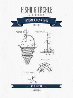 1912 Fishing Tackle Patent Drawing - Navy Blue Art Print by Aged Pixel
