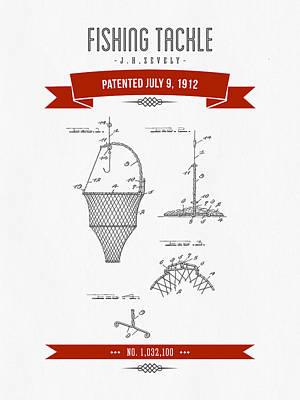 1912 Fishing Tackle Patent Drawing - Red Art Print by Aged Pixel