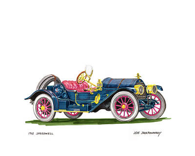 1912 Speedwell Speed Car Art Print by Jack Pumphrey