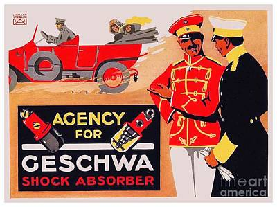 Digital Art - 1913 - Geschwa Automobile Shock Absorber Adbertisement - Color by John Madison
