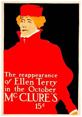 Digital Art - 1913 - Mcclures Magazine Poster Advertisement - Ellen Terry - Color by John Madison