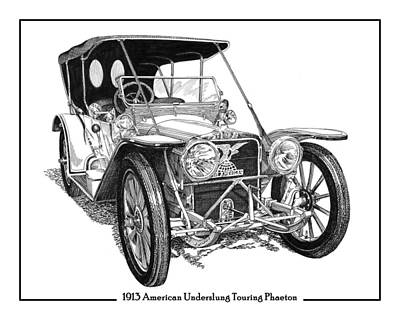 Drawing - 1913 American Underslung by Jack Pumphrey