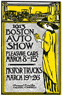 Painting - 1913 Boston Automotive Show by Historic Image