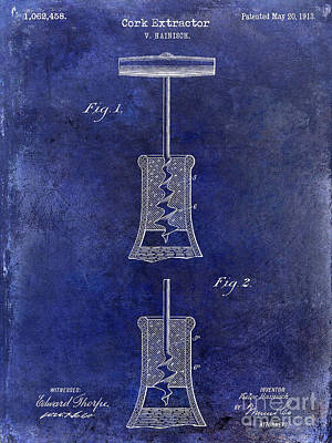 Photograph - 1913 Cork Extractor Patent Drawing Blue by Jon Neidert