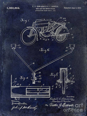 Harley Davidson Photograph - 1913 Motorcycle Patent Drawing Blue by Jon Neidert