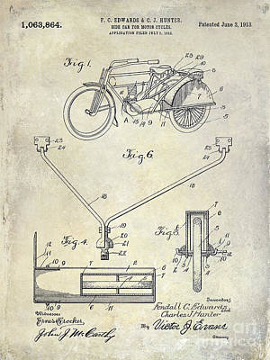 Harley Davidson Photograph - 1913 Motorcycle Patent Drawing by Jon Neidert