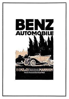 Digital Art - 1914 - Benz Automobile Poster Advertisement - Color by John Madison