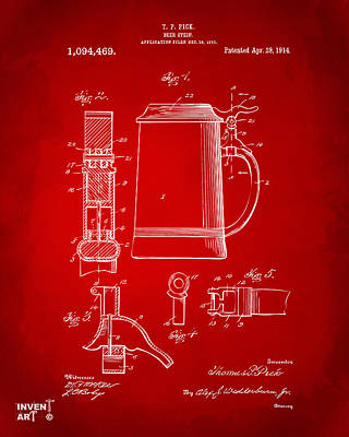 Stein Drawing - 1914 Beer Stein Patent Artwork - Red by Nikki Marie Smith
