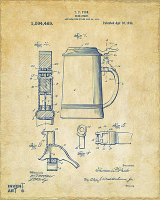Bar Drawing - 1914 Beer Stein Patent Artwork - Vintage by Nikki Marie Smith