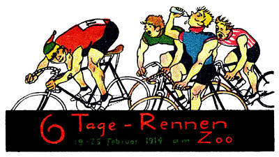 Painting - 1914 Bicycle Race Poster by Historic Image