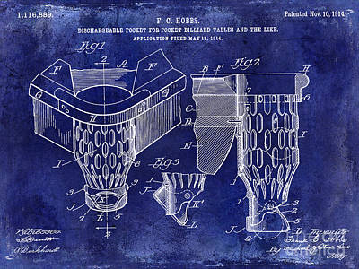 Cue Ball Photograph - 1914 Billiard Pocket Patent Drawing Blue by Jon Neidert