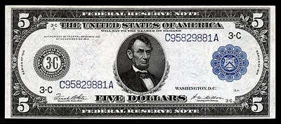 Painting - 1914 Five Dollar Federal Reserve Note by Historic Image