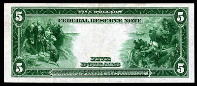 Painting - 1914 Five Dollar Federal Reserve Note Reverse by Historic Image
