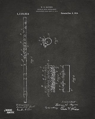 Marching Band Drawing - 1914 Flute Patent - Gray by Nikki Marie Smith