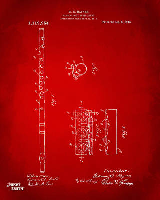 Marching Band Digital Art - 1914 Flute Patent - Red by Nikki Marie Smith