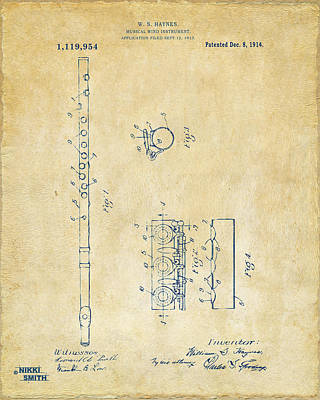1914 Flute Patent - Vintage Art Print by Nikki Marie Smith