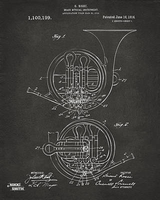 1914 French Horn Patent Art - Gray Print by Nikki Marie Smith