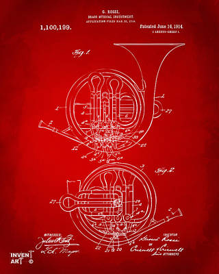 1914 French Horn Patent Art Red Print by Nikki Marie Smith
