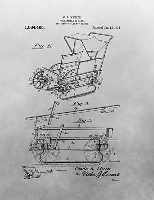 Drawing - 1914 Go Cart Patent Drawing by Dan Sproul