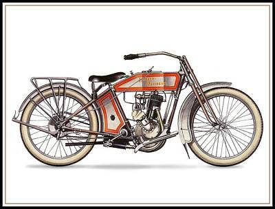 1914 Harley Davidson 35ci Model 10b Art Print by Maciek Froncisz