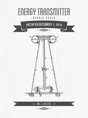 1914 Nikola Tesla Energy Trasmitter Patent Drawing - Retro Gray Art Print by Aged Pixel