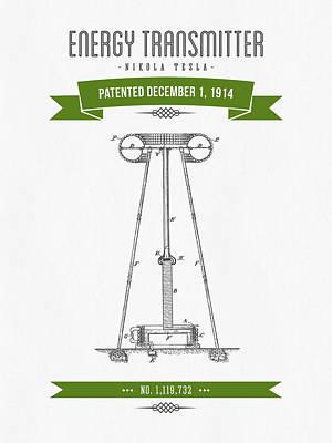 1914 Nikola Tesla Energy Trasmitter Patent Drawing - Retro Green Art Print