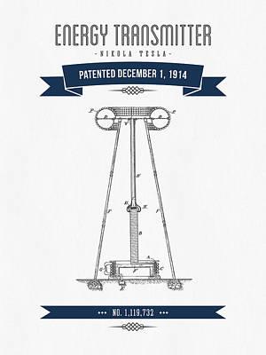 1914 Nikola Tesla Energy Trasmitter Patent Drawing - Retro Navy  Art Print