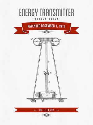 1914 Nikola Tesla Energy Trasmitter Patent Drawing - Retro Red Art Print by Aged Pixel