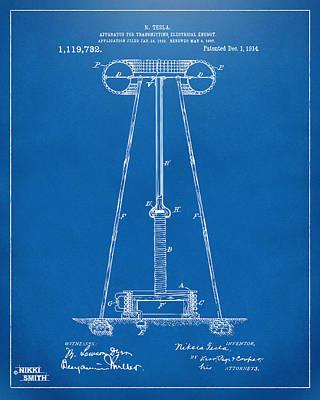 1914 Tesla Transmitter Patent Artwork - Blueprint Art Print