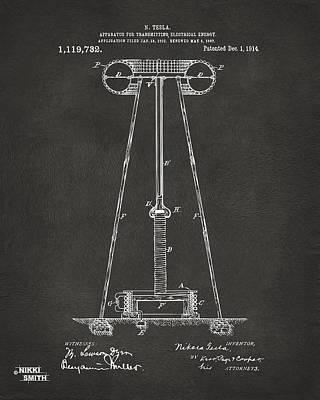1914 Tesla Transmitter Patent Artwork - Gray Art Print