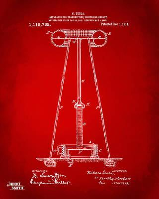 1914 Tesla Transmitter Patent Artwork - Red Art Print