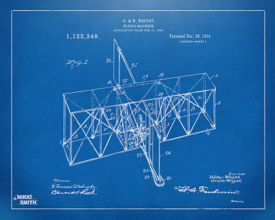 Digital Art - 1914 Wright Brothers Flying Machine Patent Blueprint by Nikki Marie Smith